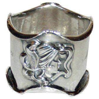 Kerr American Antique Sterling Napkin Ring, Art Nouveau Beauties