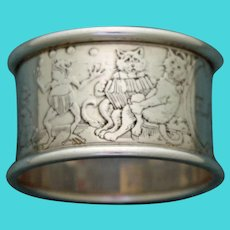 Antique Sterling Kerr Napkin Ring with Animals