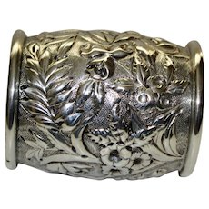 Kirk & Son American Large Sterling Antique Napkin Ring, Repousse Blooms