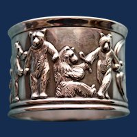 53.3  Gram 1907 Antique Gorham Sterling Napkin Ring with Scenes of Bears Around