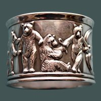 53.3  Gram 1907 Antique Gorham Sterling Napkin Ring with Scenes of Bears Around