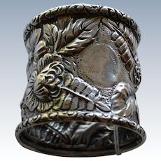 Large Antique Repousse Sterling Napkin Ring