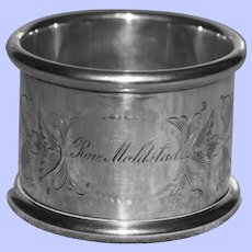 79.8 gram Antique (1911) American Towle Sterling Napkin Ring, Reverand Moldstad