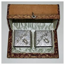 1882 Pair Wood & Hughes Coin Silver Insect Napkin Rings for J. P. Morgan Family - Original Box