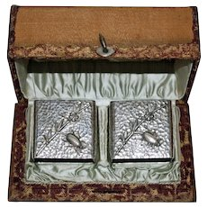1882 Pair Wood & Hughes Coin Silver Insect Napkin Rings for J. P. Morgan Family - Original Box