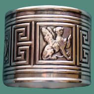 Antique 1881 Gorham American Sterling Napkin Ring with Mythical Creatures