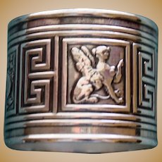 Antique 1881 Gorham Sterling Napkin Ring with Mythical Creatures