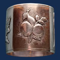 60.5 Gram Antique (1869) Gorham Sterling Napkin Ring, Fruits of the Land