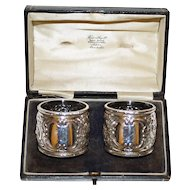 1895 Hallmarked Sterling Pair English Napkin Rings in Box, Sheffield, by Harry Atkin