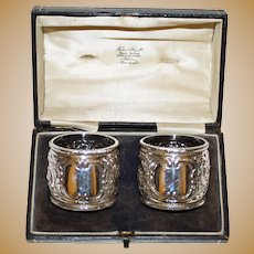 134 Gram Pair 1895 Hallmarked Antique Sterling  English Napkin Rings in Box, Sheffield, by Harry Atkin