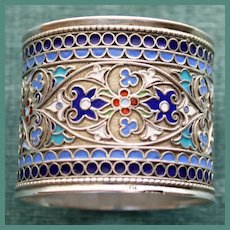 Antique Russian Sterling Enamel Napkin Ring, c. 1890, Superb