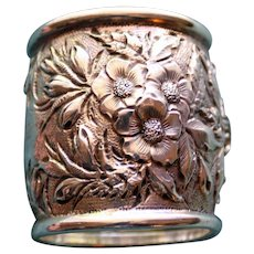 Antique Repousse  American Coin Silver Napkin Ring, Lush Blooms and Foliage