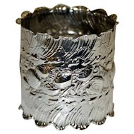 1888 Antique Gorham Sterling Napkin Ring with Shells and Waves, Stunning