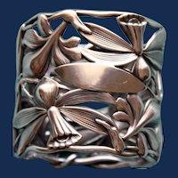 53.2 Grams Antique American Shiebler Art Nouveau Orchid Sterling Napkin Ring -  Stunning