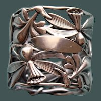 53.2 Grams Antique Shiebler Art Nouveau Orchid Sterling Napkin Ring -  Stunning