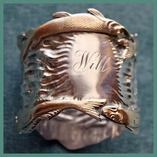 Spectacular Shiebler Sterling Napkin Ring with Gilded Swimming Fish