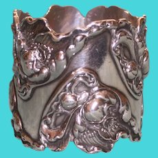 Magnificent George Shiebler Antique American Sterling Napkin Ring, Art Nouveau