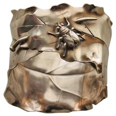 Shiebler American Aesthetic Sterling Napkin Ring w Pinned Leaf and Insect - Wonderful