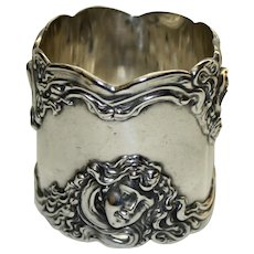 Antique Shiebler American Sterling Napkin Ring, Women with Fowing Hair - Extraordinary Art Nouveau