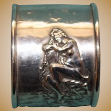 Unger Antique Sterling Napkin Ring, Siren with Lyre on Rocks