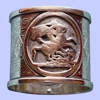 1870 Antique English Martin & Hall Sterling Napkin Ring, St. George  &  Dragon