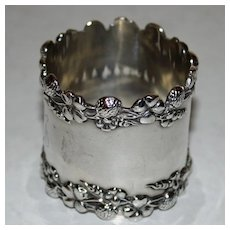 Antique Sterling Napkin Ring with Four Leaf Clover Leaves and Flowers