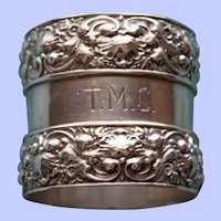 Antique Tiffany Sterling Napkin Ring, Outstanding Repousse Borders