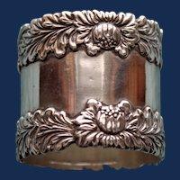 "60.5 Gram Antique American Tiffany Sterling Napkin Ring, ""Chrysthanthemum""-RARE"