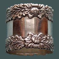 60.5 Gram  Antique Tiffany  Sterling Chrysanthemum Napkin Ring -  RARE