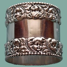 Antique Tiffany American Sterling Napkin Ring, Cherub Faces - Stunning