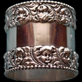 Antique Tiffany American Sterling Napkin Ring, Cherub Faces - Stunning