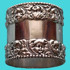Antique Tiffany Sterling Napkin Ring, Cherub Faces - Stunning