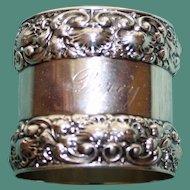 Antique Tiffany American Sterling Napkin Ring, Splendid Borders, 86.4 grams
