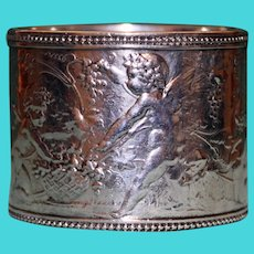 Antique 82.1 Grams Tiffany Sterling Napkin Ring, Charming Cherubs