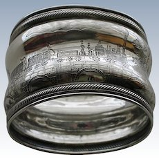 Coin Silver Antique Napkin Ring with Train Decoration