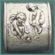 Antique Unger Sterling Napkin Ring - Cherubs Building Fire, Stunning