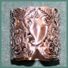 Antique Unger Bros American Art Nouveau Sterling Napkin Ring, Flowers and Leaves