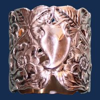 45.3 Gram Antique Unger Bros American Art Nouveau Sterling Napkin Ring, Flowers and Leaves