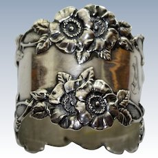 Unger Antique Sterling Napkin Ring with Large Flowers - Stunning