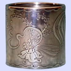 Antique American Art Nouveau Sterling Napkin Ring, Exotic Flower & Ribbons