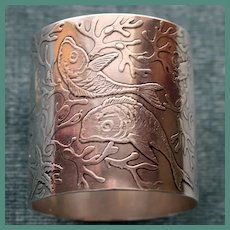 Antique Heavy Whiting American Sterling Napkin Ring with Fish, Christmas 1893