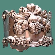 Antique Woodside Sterling Napkin Ring, Clover Flowers and Berries, Exceptional