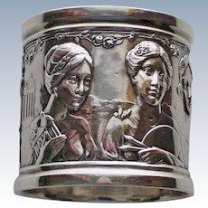 Antique Sterling Napkin Ring with Four Women, Art Nouveau