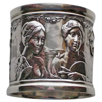 Reed & Barton American Sterling Napkin Ring with Four Women, Art Nouveau