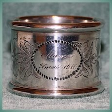 """Antique Towle Sterling Napkin Ring, """"Xmas 1911"""", American Silver"""