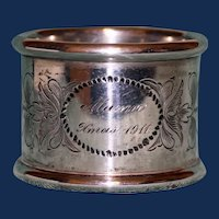 """81.2 Gram Antique Towle Sterling Napkin Ring, """"Xmas 1911"""", American Silver"""