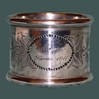 "81.2 Gram Antique Towle Sterling Napkin Ring, ""Xmas 1911"", American Silver"
