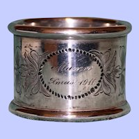 "Antique Towle Sterling Napkin Ring, ""Xmas 1911"", American Silver"