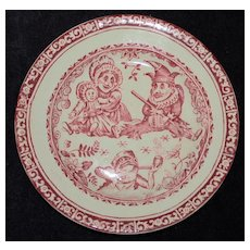 Antique Allerton Red Transferware  Plate with Punch and Judy 1903-1912