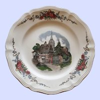 French Obernai Faience Sarraguemines Plate, Village Scene